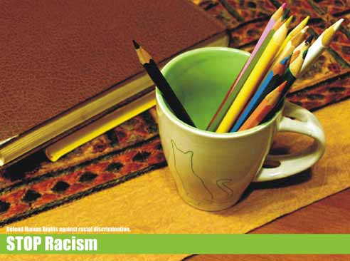 Stop Racism.Defend human rights against racial discrimination
