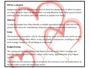 bid for a valentine
