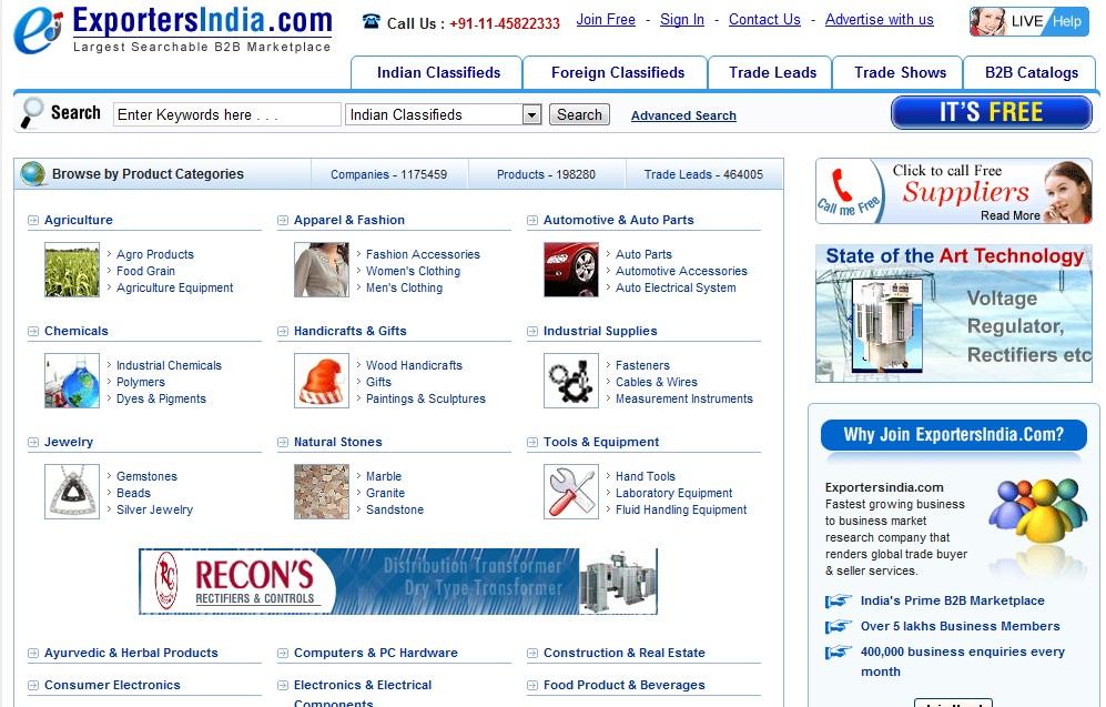 Free Listing of company's on exportersindia.com
