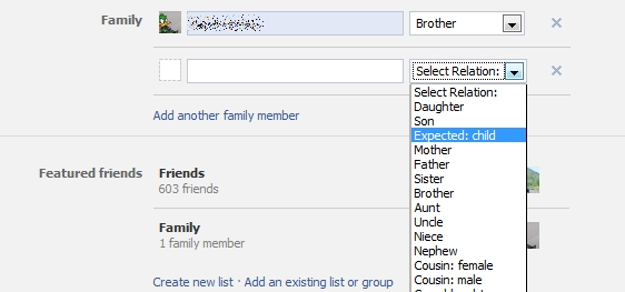 Facebook allows unborn child to be listed as family